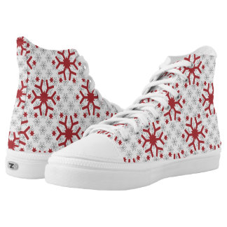 Modern pattern of red grey snowflakes winter printed shoes