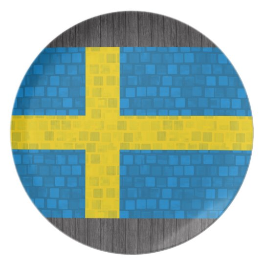Modern Pattern Swedish Flag Plate