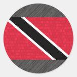 Modern Pattern Trinidadian Flag Round Stickers