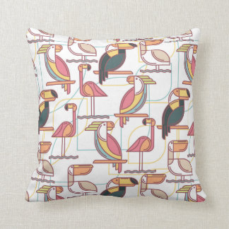 Modern Pattern With Tropical Birds Cushion
