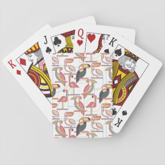 Modern Pattern With Tropical Birds Playing Cards