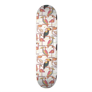 Modern Pattern With Tropical Birds Skateboard