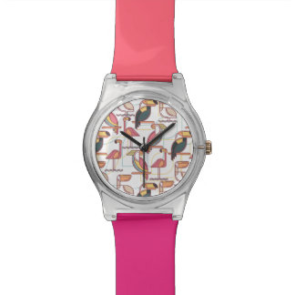 Modern Pattern With Tropical Birds Watches