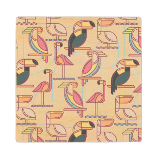 Modern Pattern With Tropical Birds Wood Coaster