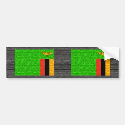 Modern Pattern Zambian Flag Bumper Sticker