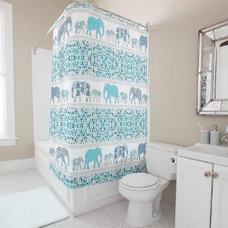 Modern Patterned Elephants Geometric Triangle Blue Shower Curtain