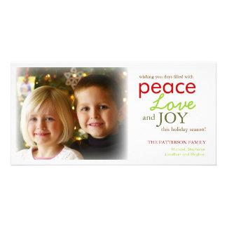 Modern Peace Love Joy Photo Holiday Greeting Card