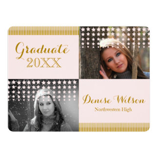 Modern Peach and Gold Graduation Photo Invitation