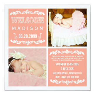 "Modern Peach Baby Girl Sip & See Party Photo Cards 5.25"" Square Invitation Card"