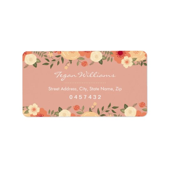 Modern Peach Floral Address Labels