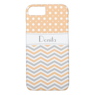 Modern peach, grey, white chevron & polka dot iPhone 7 case