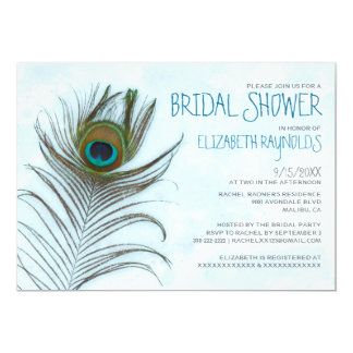 Modern Peacock Feather Bridal Shower Invitations