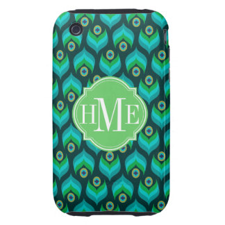 Modern Peacock Feather Pattern Monogram iPhone 3 Tough Cases