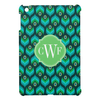 Modern Peacock Feather Pattern Monogram Case For The iPad Mini