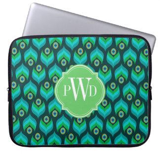 Modern Peacock Feather Pattern Monogram Laptop Sleeve