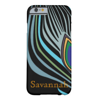 Modern Peacock Feather Personalized Damask iPhone Barely There iPhone 6 Case