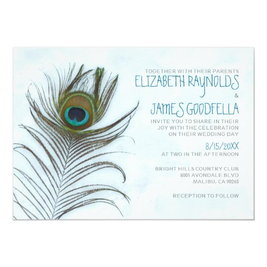 Modern Peacock Feather Wedding Invitations