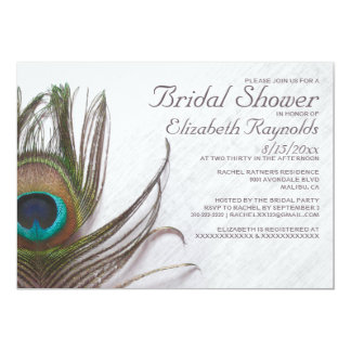 Modern Peacock Feathers Bridal Shower Invitations