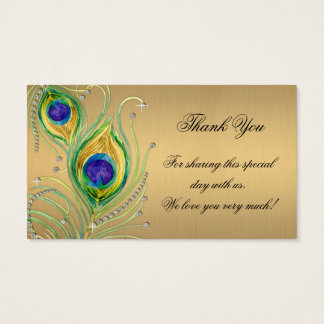 Modern Peacock Feathers Faux Jewel Scroll Swirl Business Card
