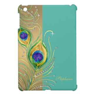 Modern Peacock Feathers Faux Jewel Scroll Swirl Case For The iPad Mini