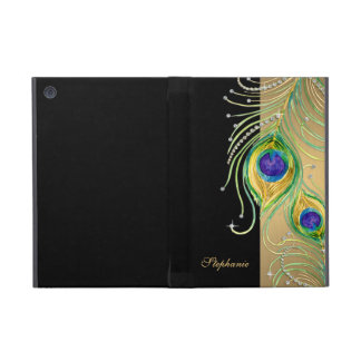 Modern Peacock Feathers Faux Jewel Scroll Swirl Cover For iPad Mini