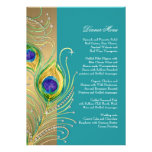 Modern Peacock Feathers Faux Jewel Scroll Swirl Personalised Announcements