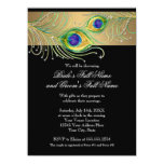 Modern Peacock Feathers Faux Jewel Scroll Swirl Personalised Invite