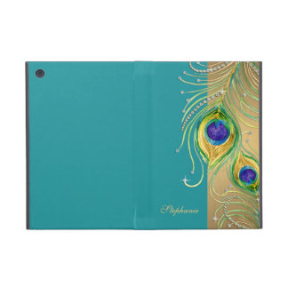 Modern Peacock Feathers Faux Jewel Scroll Swirl iPad Mini Case
