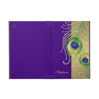 Modern Peacock Feathers Faux Jewel Scroll Swirl iPad Mini Case