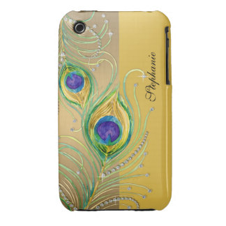 Modern Peacock Feathers Faux Jewel Scroll Swirl iPhone 3 Cases