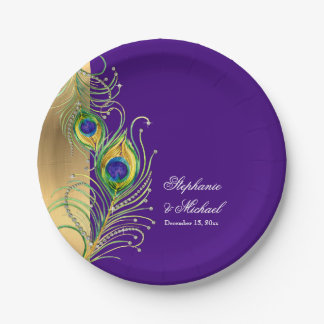 Modern Peacock Feathers Faux Jewel Scroll Weddings 7 Inch Paper Plate
