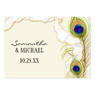Modern Peacock Feathers Faux Ribbon Damask Swirl Business Card Templates