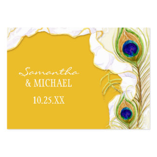 Modern Peacock Feathers Faux Ribbon Damask Swirl Business Cards