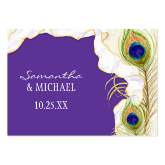 Modern Peacock Feathers Faux Ribbon Damask Swirl Business Card Template