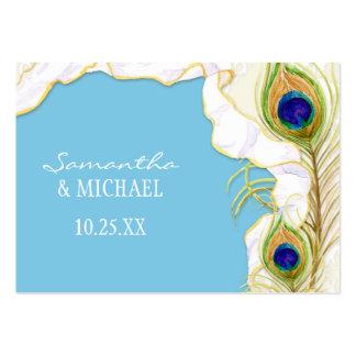 Modern Peacock Feathers Faux Ribbon Damask Swirl Business Card