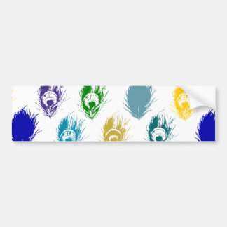 Modern Peacock feathers print art Bumper Sticker