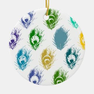 Modern Peacock feathers print art Round Ceramic Decoration