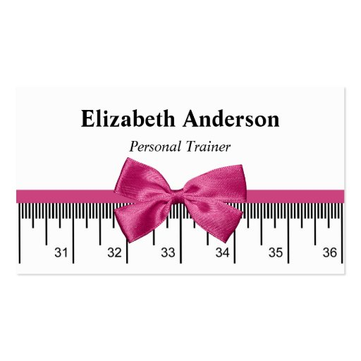 Modern Personal Trainer With Girly Pink Ribbon Business Cards