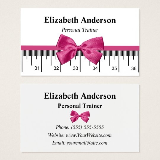 Modern Personal Trainer With Girly Pink Ribbon Business