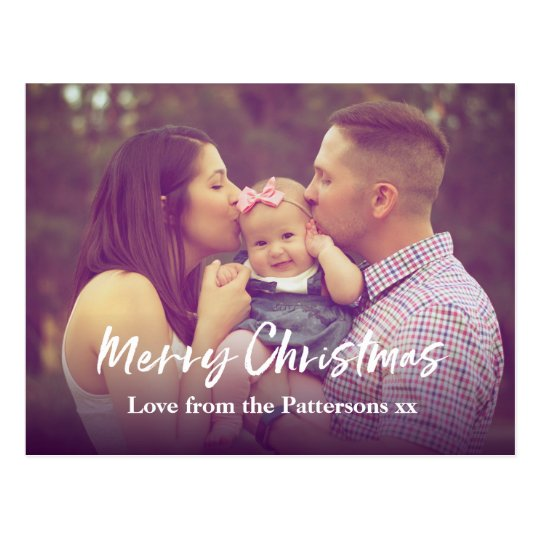 Modern Personalised Christmas photo card postcard