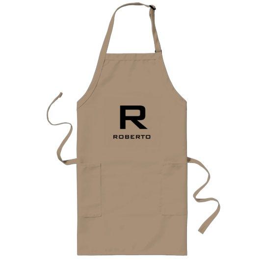 Modern personalised khaki beige bbq apron for men