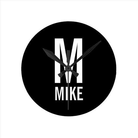 Modern Personalised Monogram and Name Round Clock