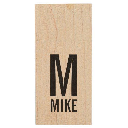 Modern Personalised Monogram and Name Wood USB Flash Drive