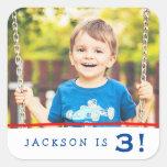 Modern Personalised Photo Birthday Stickers