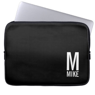 Modern Personalized Bold Monogram and Name Laptop Sleeve