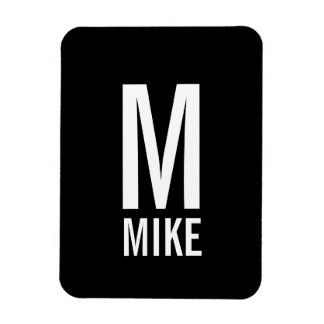 Modern Personalized Bold Monogram and Name Magnet