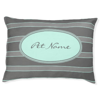 Modern personalized dog bed Aqua and grey striped