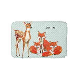 Modern Personalized Fox Deer Childrens Room Bath Mats