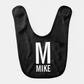 Modern Personalized Monogram and Name Bib