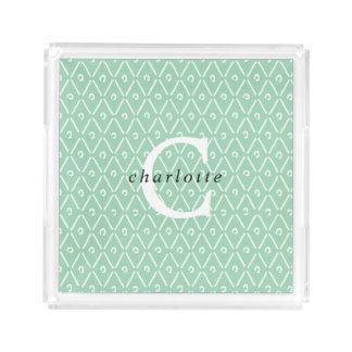 Modern Personalized Monogram Overlay Diamond Tray